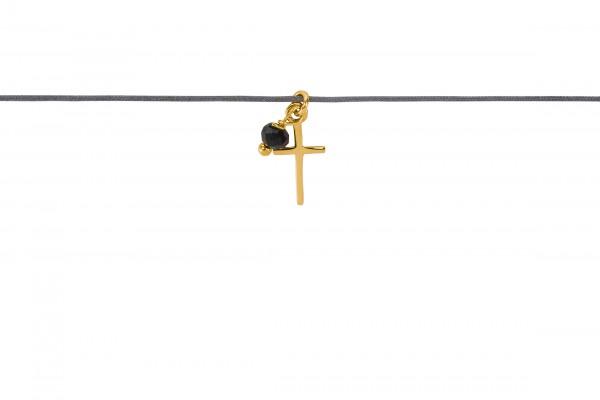 Possum Langes Kettchen Cross + Stone 925 Sterling Silber gelbgold vergoldet