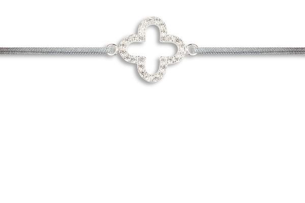 Possum Wunscharmband Shamrock-Zirkonia 925 Sterling Silber rhodiniert