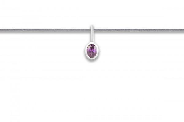 Possum Langes Kettchen Purple Stone 925 Sterling Silber rhodiniert