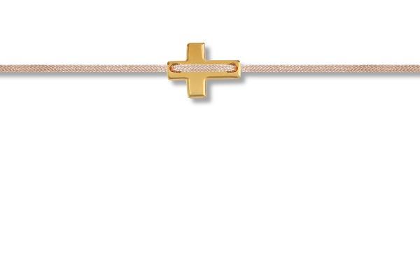 Possum Fußkettchen Cross 925 Sterling Silber gelbgold vergoldet