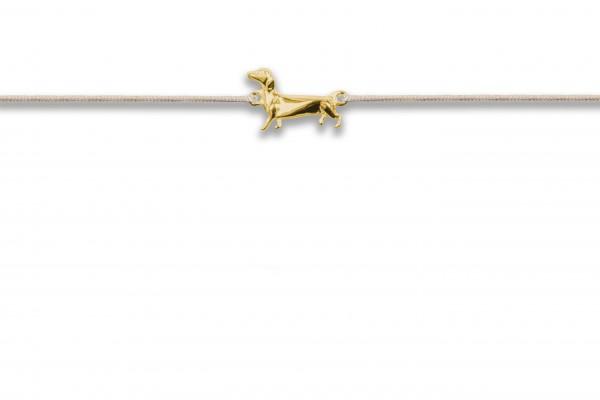 Possum Wunscharmband Wiener Dog 925 Sterling Silber gelbgold vergoldet - Dackel