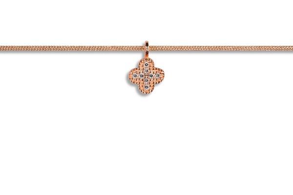 Possum Kettchen Shamrock-Zirkonia 925 Sterling Silber rosévergoldet