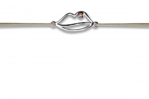 Possum Wunscharmband Lips 925 Sterling Silber rhodiniert