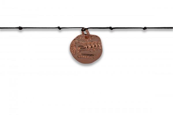 Possum Langes Kettchen Antique Coin Horse Knot 925 Sterling Silber rosévergoldet