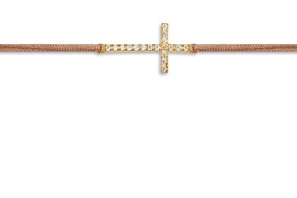 Possum Wunscharmband Cross-Zirkonia 925 Sterling Silber gelbgold vergoldet