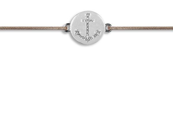Possum Wunscharmband Anchor Zirkonia 925 Sterling Silber rhodiniert