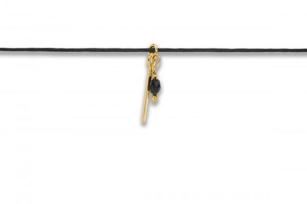 Possum Langes Kettchen Bar + Stone 925 Sterling Silber gelbgold vergoldet