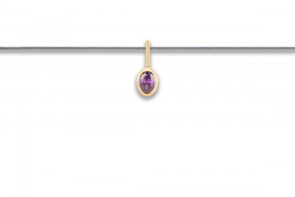 Possum Langes Kettchen Purple Stone 925 Sterling Silber gelbgold vergoldet