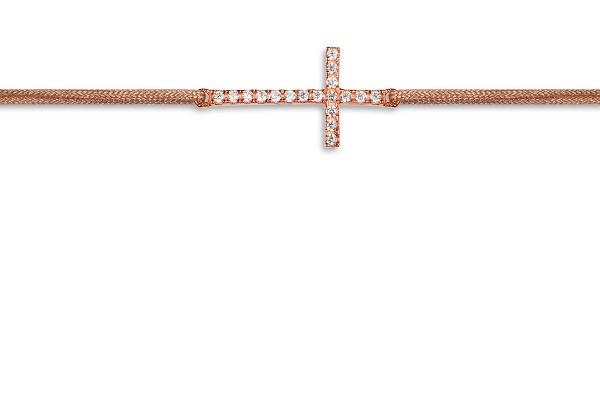 Possum Wunscharmband Cross-Zirkonia 925 Sterling Silber rosévergoldet