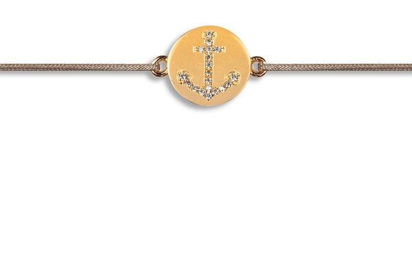 Possum Wunscharmband Anchor Zirkonia 925 Sterling Silber gelbgold vergoldet