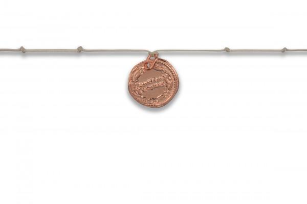 Possum Langes Kettchen Antique Coin Number Knot 925 Sterling Silber rosévergoldet