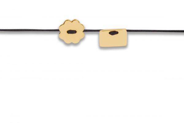 Possum Armbändchen Rectangle-Shamrock 925 Sterling Silber gelbgold vergoldet