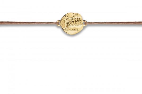 Possum Wunscharmband Antique Coin Horse 925 Sterling Silber gelbgold vergoldet