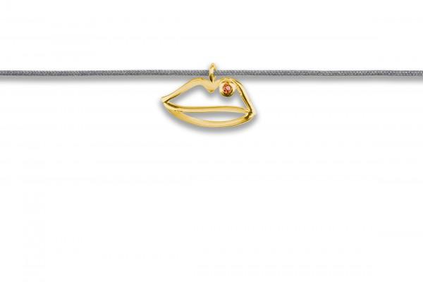 Possum Langes Kettchen Lips 925 Sterling Silber gelbgold vergoldet