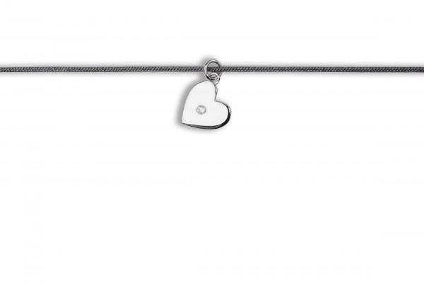 Possum Langes Kettchen Heart with stone 925 Sterling Silber rhodiniert