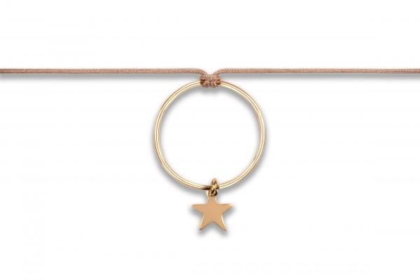 Possum Langes Kettchen Circle/Star 925 Sterling Silber gelbgold vergoldet