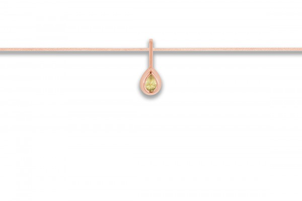 Possum Langes Kettchen Green Drop 925 Sterling Silber rosevergoldet