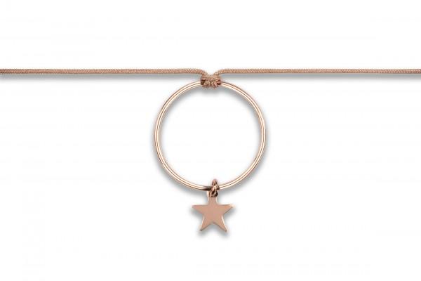 Possum Langes Kettchen Circle/Star 925 Sterling Silber rosévergoldet