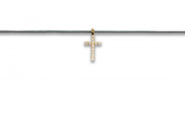 Possum Kettchen Cross Zirkonia 925 Sterling Silber gelbgold vergoldet